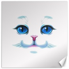 Cute White Cat Blue Eyes Face Canvas 12  X 12   by BangZart