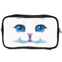 Cute White Cat Blue Eyes Face Toiletries Bags 2 Side