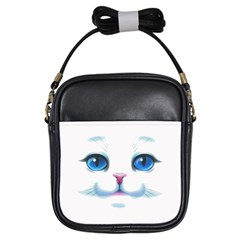 Cute White Cat Blue Eyes Face Girls Sling Bags by BangZart