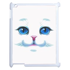 Cute White Cat Blue Eyes Face Apple Ipad 2 Case (white) by BangZart