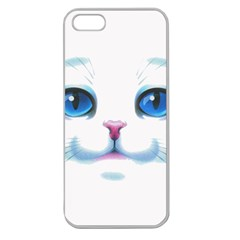Cute White Cat Blue Eyes Face Apple Seamless Iphone 5 Case (clear) by BangZart