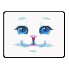 Cute White Cat Blue Eyes Face Double Sided Fleece Blanket (small)