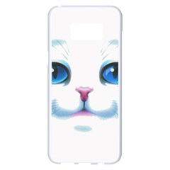 Cute White Cat Blue Eyes Face Samsung Galaxy S8 Plus White Seamless Case