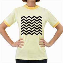 Black And White Chevron Women s Fitted Ringer T-shirts by BangZart