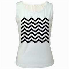 Black And White Chevron Women s White Tank Top