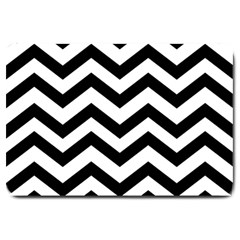 Black And White Chevron Large Doormat  by BangZart