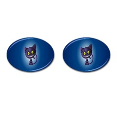 Funny Cute Cat Cufflinks (oval) by BangZart