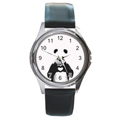 Panda Love Heart Round Metal Watch