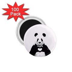 Panda Love Heart 1 75  Magnets (100 Pack)