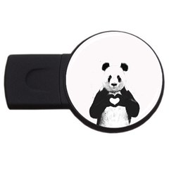 Panda Love Heart Usb Flash Drive Round (2 Gb) by BangZart