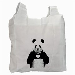 Panda Love Heart Recycle Bag (two Side)