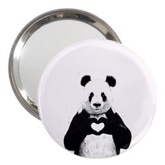 Panda Love Heart 3  Handbag Mirrors