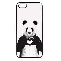 Panda Love Heart Apple Iphone 5 Seamless Case (black)