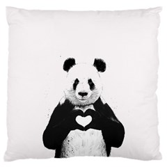 Panda Love Heart Large Flano Cushion Case (one Side) by BangZart