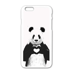 Panda Love Heart Apple Iphone 6/6s White Enamel Case