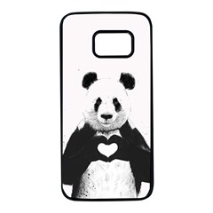 Panda Love Heart Samsung Galaxy S7 Black Seamless Case
