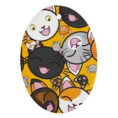 Cats Cute Kitty Kitties Kitten Ornament (oval) by BangZart