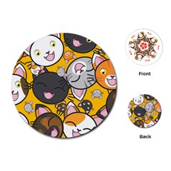 Cats Cute Kitty Kitties Kitten Playing Cards (round)  by BangZart
