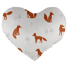 Fox Animal Wild Pattern Large 19  Premium Heart Shape Cushions