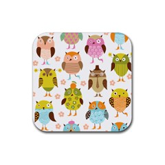 Cute Owls Pattern Rubber Square Coaster (4 Pack)  by BangZart