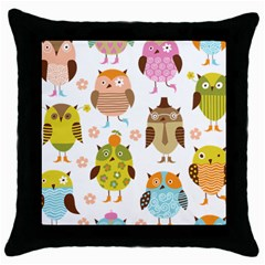 Cute Owls Pattern Throw Pillow Case (black) by BangZart