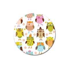 Cute Owls Pattern Magnet 3  (round) by BangZart