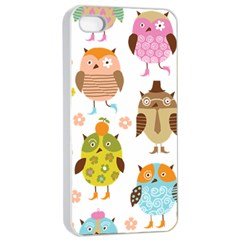 Cute Owls Pattern Apple Iphone 4/4s Seamless Case (white) by BangZart