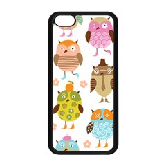 Cute Owls Pattern Apple Iphone 5c Seamless Case (black) by BangZart