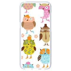 Cute Owls Pattern Samsung Galaxy S8 White Seamless Case by BangZart