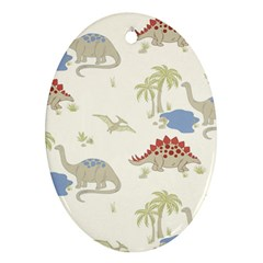 Dinosaur Art Pattern Oval Ornament (two Sides)