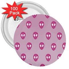 Alien Pattern Pink 3  Buttons (100 Pack)