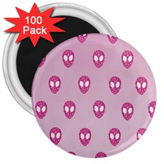 Alien Pattern Pink 3  Magnets (100 Pack) by BangZart