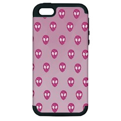 Alien Pattern Pink Apple Iphone 5 Hardshell Case (pc+silicone) by BangZart