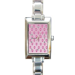 Alien Pattern Pink Rectangle Italian Charm Watch by BangZart
