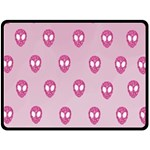 Alien Pattern Pink Double Sided Fleece Blanket (Large)  80 x60 Blanket Back