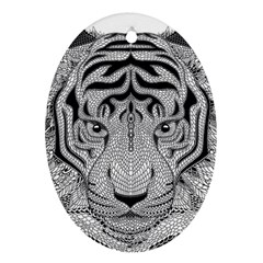Tiger Head Ornament (oval) by BangZart