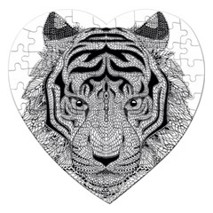 Tiger Head Jigsaw Puzzle (heart) by BangZart