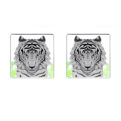 Tiger Head Cufflinks (square) by BangZart