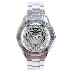Tiger Head Stainless Steel Analogue Watch