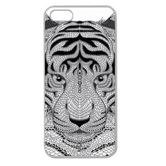 Tiger Head Apple Seamless Iphone 5 Case (clear) by BangZart