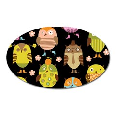Cute Owls Pattern Oval Magnet by BangZart