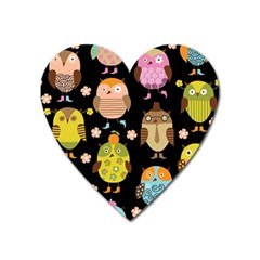 Cute Owls Pattern Heart Magnet by BangZart