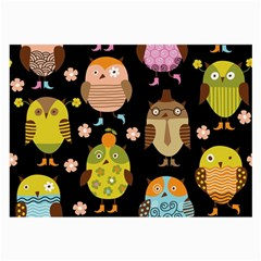 Cute Owls Pattern Large Glasses Cloth by BangZart