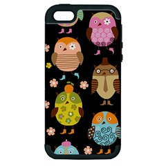 Cute Owls Pattern Apple Iphone 5 Hardshell Case (pc+silicone) by BangZart