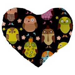 Cute Owls Pattern Large 19  Premium Flano Heart Shape Cushions by BangZart