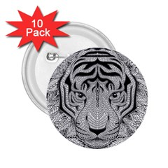 Tiger Head 2 25  Buttons (10 Pack)