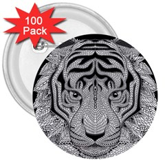 Tiger Head 3  Buttons (100 Pack)