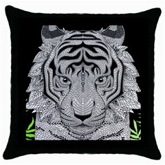 Tiger Head Throw Pillow Case (black) by BangZart