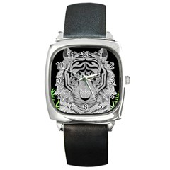 Tiger Head Square Metal Watch