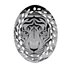 Tiger Head Oval Filigree Ornament (two Sides) by BangZart